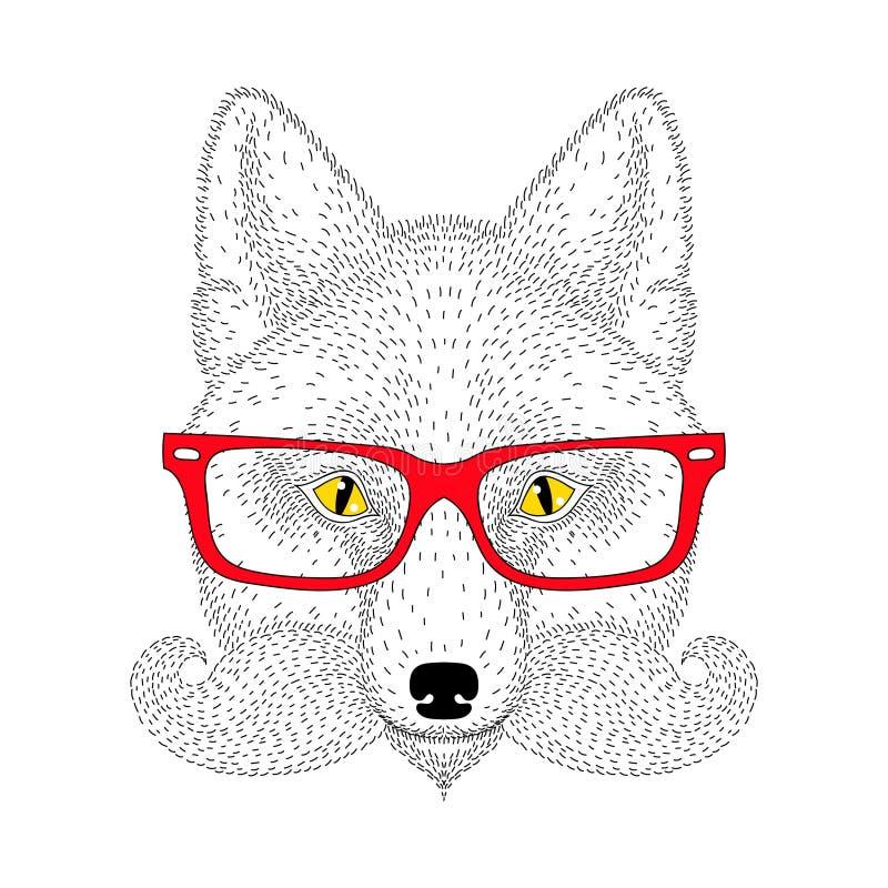 Portrait mignon de renard avec la moustache française, barbe, verres Main DR illustration de vecteur