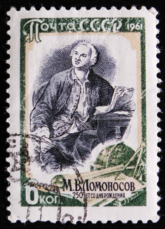 Portrait of Mikhail Lomonosov - Russian scientist, 250 date of birth anniversary, circa 1961. MOSCOW, RUSSIA - APRIL 2, 2017: A post stamp printed in USSR shows stock images