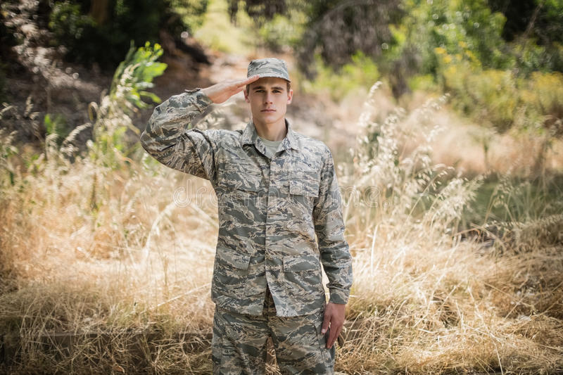 Portrait of military soldier giving salute. In boot camp royalty free stock images