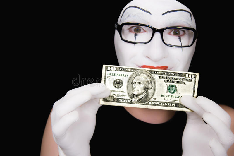 Portrait of  mime with 10 dollar denomination