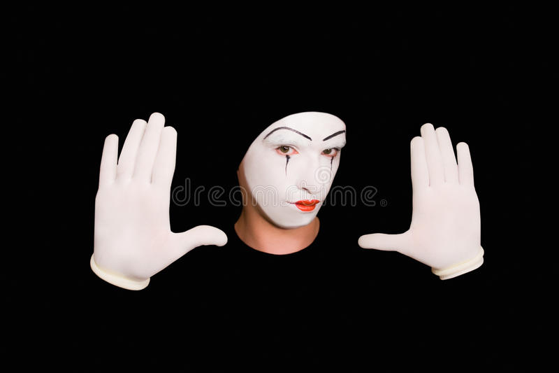 Portrait of mime in gloves stock image