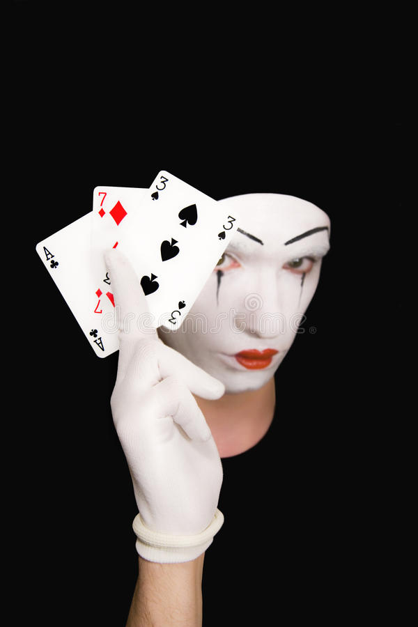 Download Portrait Of  Mime With Playing Cards Stock Image - Image of seven, close: 10717719