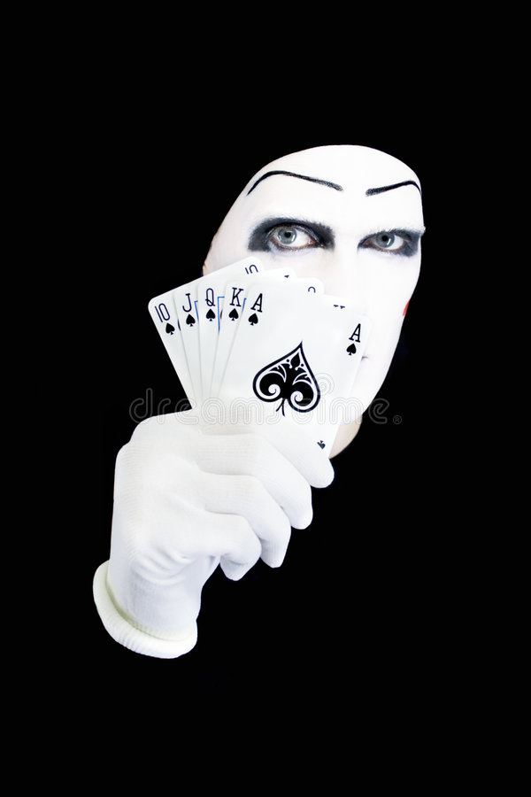 Portrait of the mime with Royal Flush royalty free stock photos