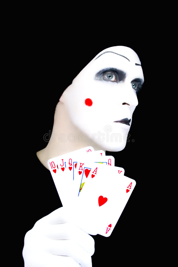 Portrait of the mime with Royal Flush royalty free stock images