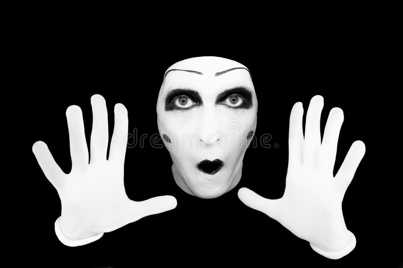 Portrait of the mime in white gloves stock photography