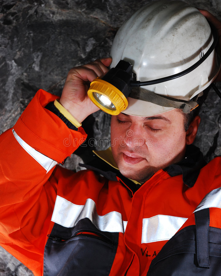 Portrait of a mine worker stock images