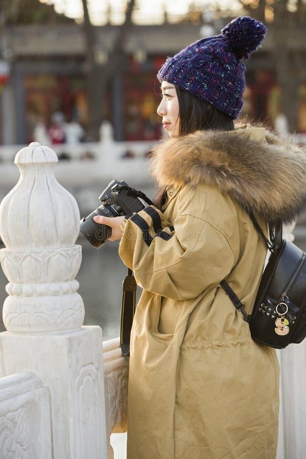 Portrait of a miss traveler stock photos