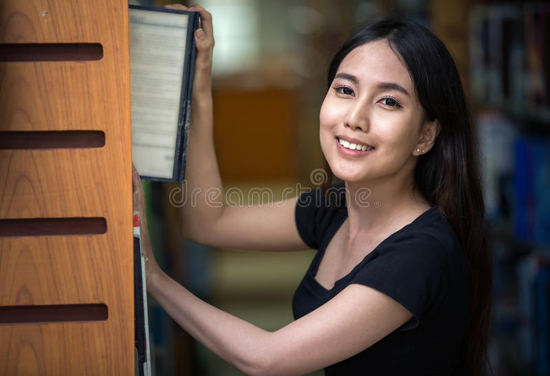 A portrait of a mixed race college asia student stock image