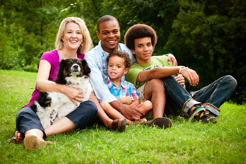 Portrait of mixed race family stock photography