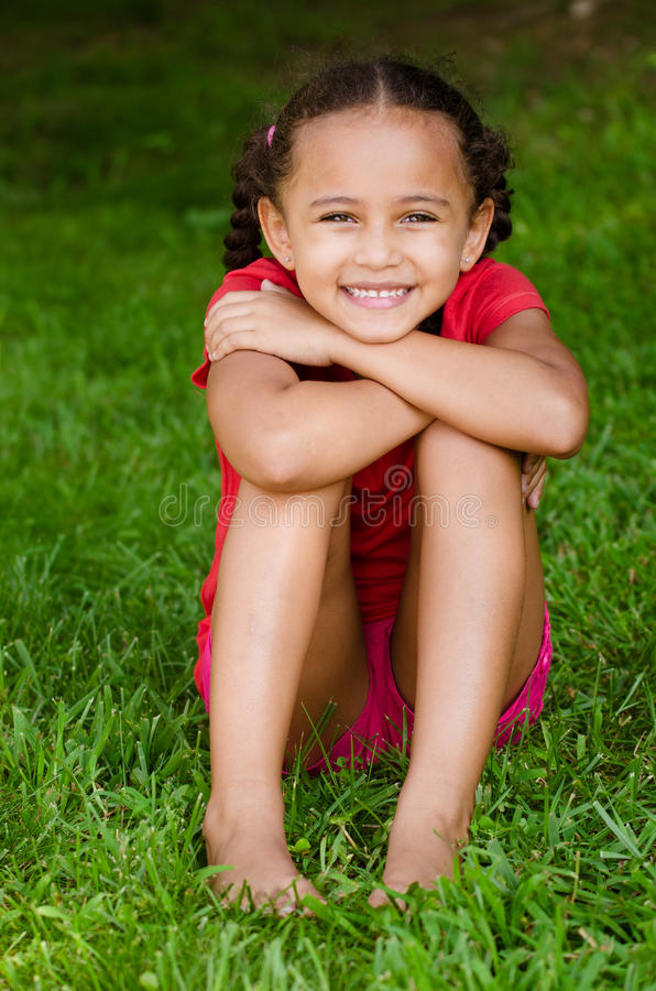 Portrait of mixed race girl stock photography