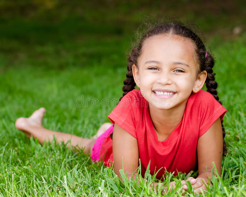 Portrait of mixed race girl royalty free stock photo