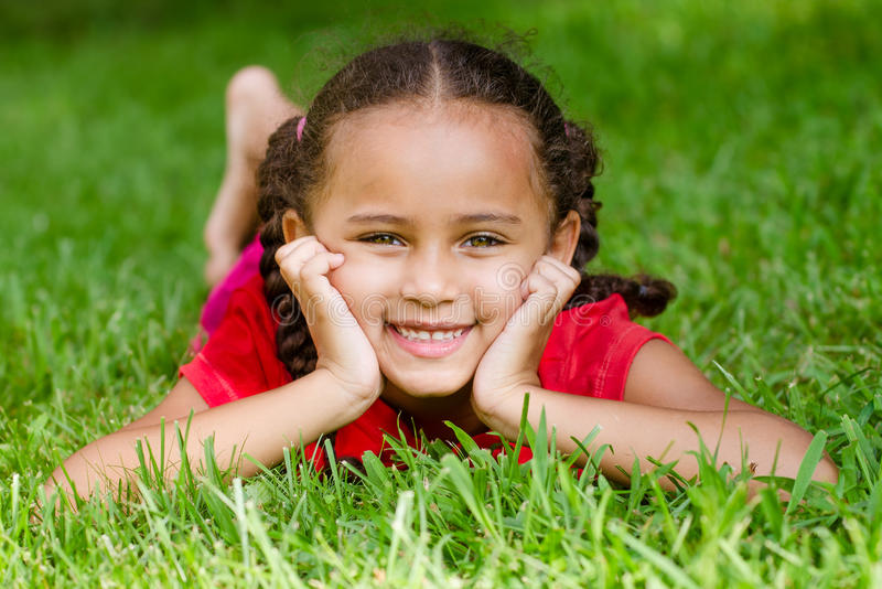Portrait of mixed race girl royalty free stock photography
