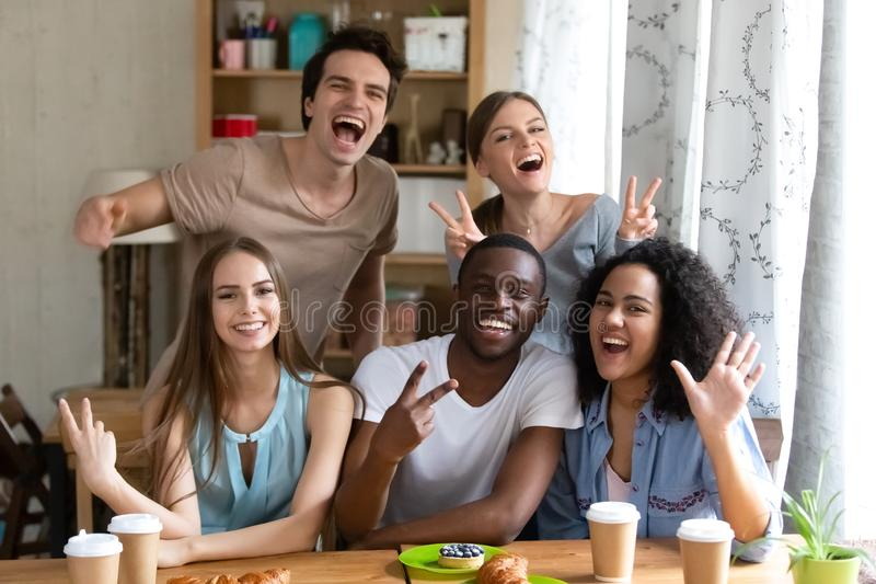 Portrait of mixed race happy overjoyed friends group. stock photography