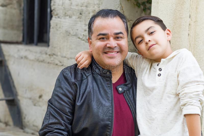 Mixed Race Hispanic and Caucasian Son and Father. Portrait of Mixed Race Hispanic and Caucasian Son and Father royalty free stock photos