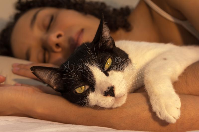 Portrait of woman with curly hair sleeping with her black and white cat in bed. Concept of love to animals, pets, care, royalty free stock image