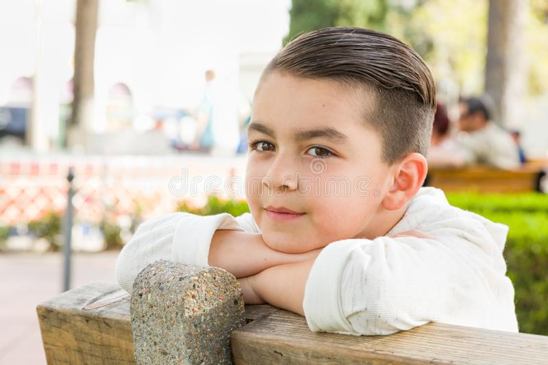 Portrait of Mixed Race Young Hispanic and Caucasian Boy stock photo