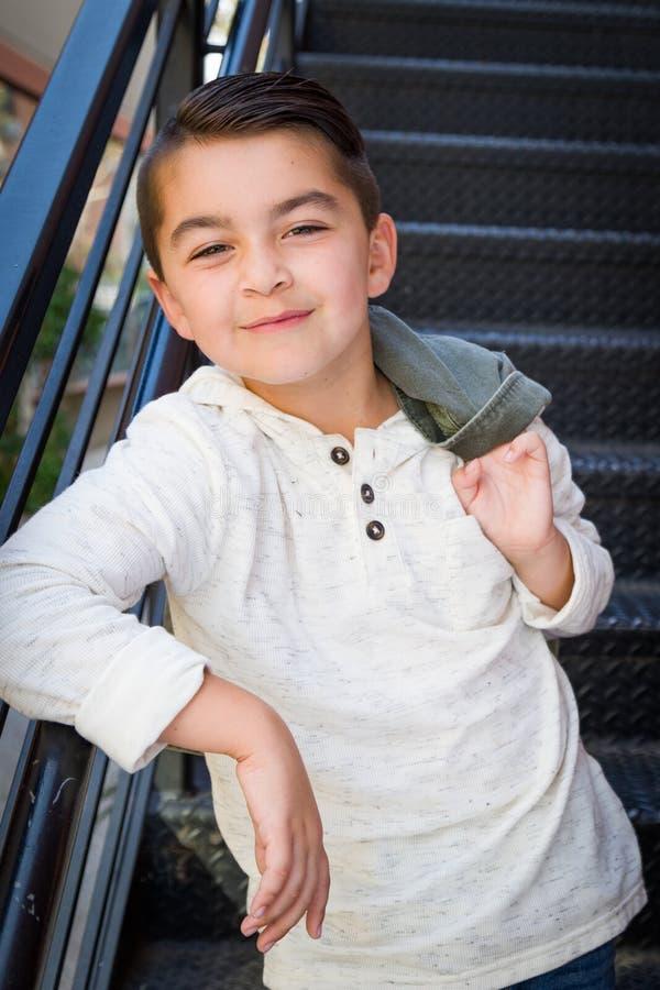 Smirking Mixed Race Young Hispanic Caucasian Boy stock image
