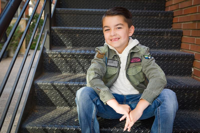 Portrait of Mixed Race Young Hispanic and Caucasian Boy royalty free stock photo
