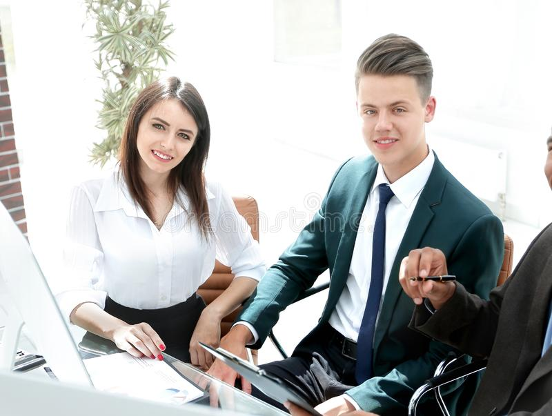 Closeup. modern business team during business hours . royalty free stock photo