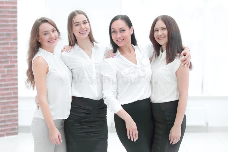 Portrait of modern business team inside office building stock images