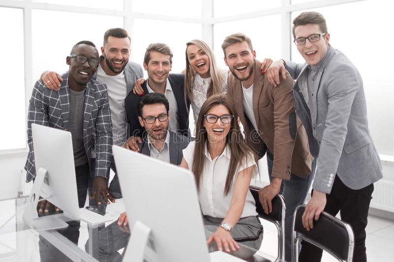 Portrait of a modern business team in the workplace royalty free stock photo