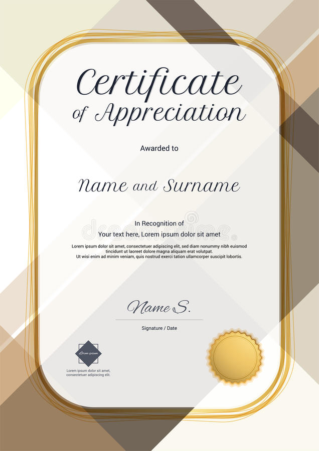 download portrait modern certificate of appreciation template with modern stock vector illustration of graduate