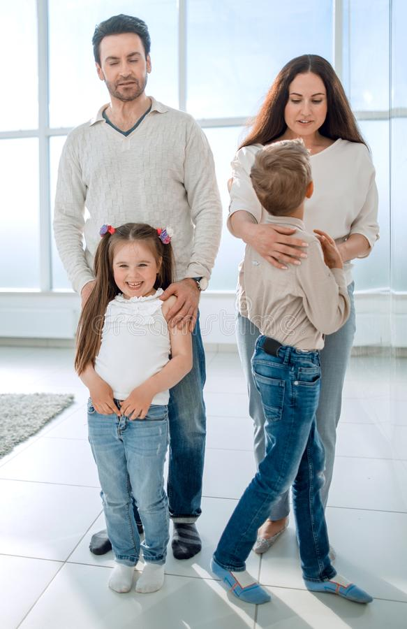 Portrait of a modern family royalty free stock image