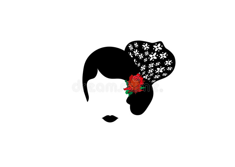 Portrait of modern Latin or Spanish woman, Lady with accessories peineta and red flower , Icon isolated, Vector illustration trans royalty free illustration