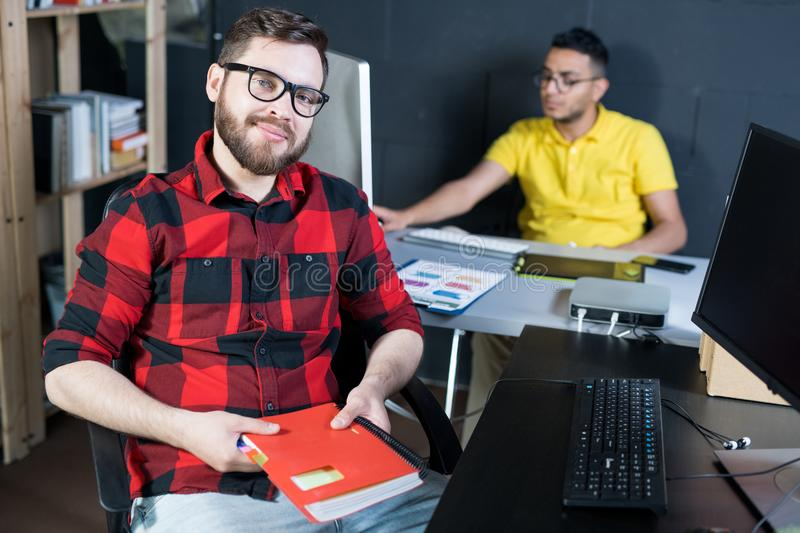Creative Young IT Developer Posing in Office stock photos