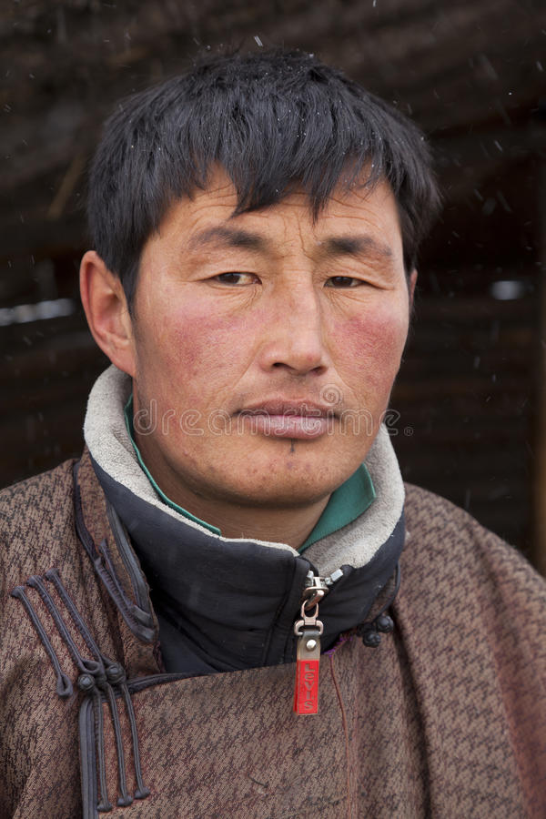 Portrait of a Mongolian herdsman stock photo