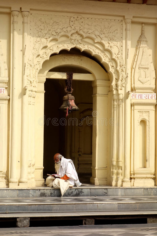 Portrait of Monk Reading in Temple stock photos