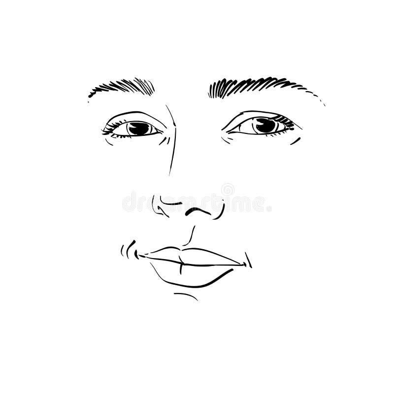 Portrait monochrome de vecteur d'art de femme de flirt, expressio de visage illustration libre de droits