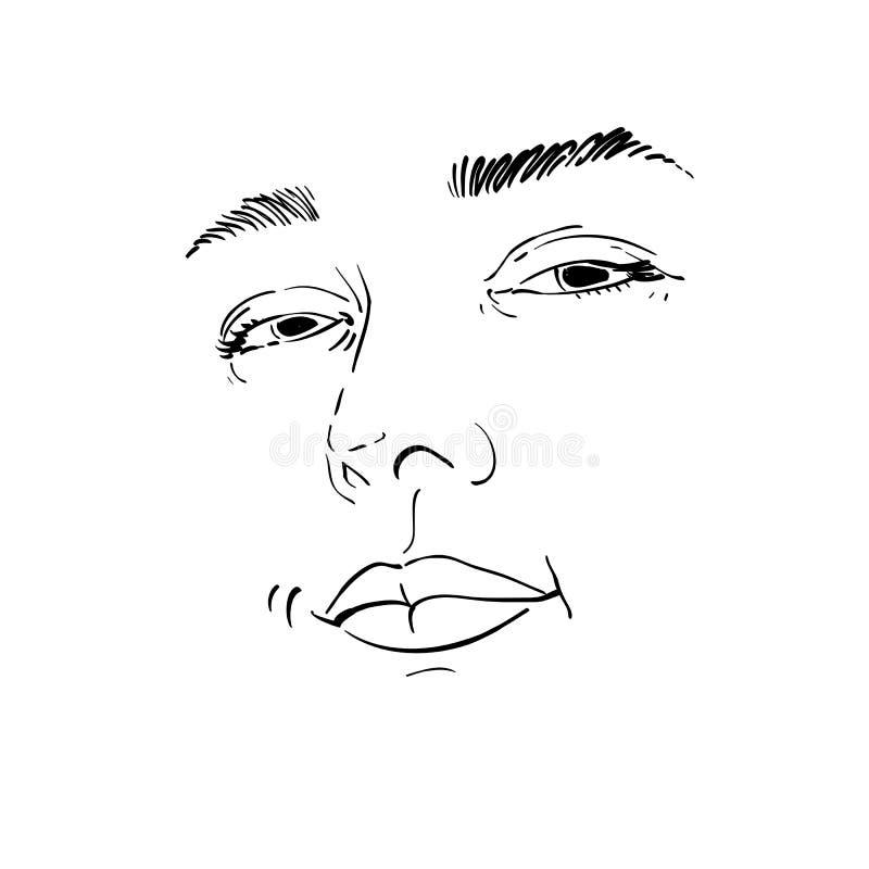 Portrait monochrome tiré par la main de femme de flirt de blanc-peau, fac illustration libre de droits