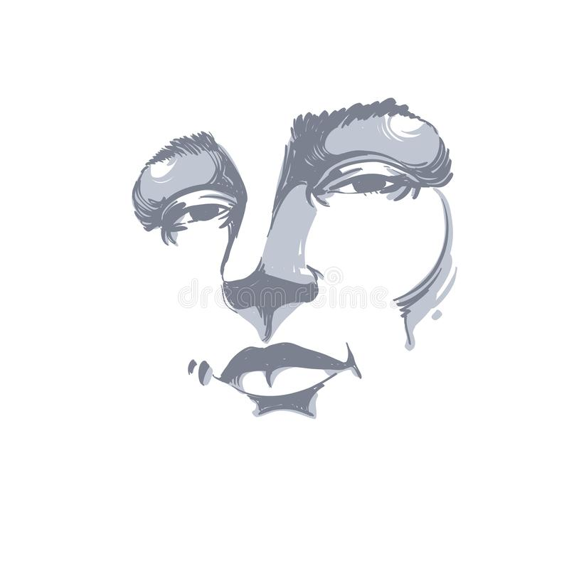 Portrait monochrome tiré par la main de femme de flirt de blanc-peau, fac illustration stock