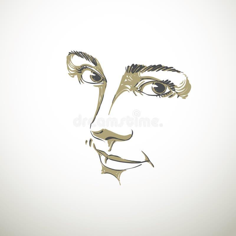 Portrait monochrome toujours de femme rêveuse belle sensible illustration stock