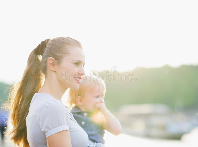 Download Portrait Of Mother And Baby Looking On Copy Space Stock Image - Image: 25260873