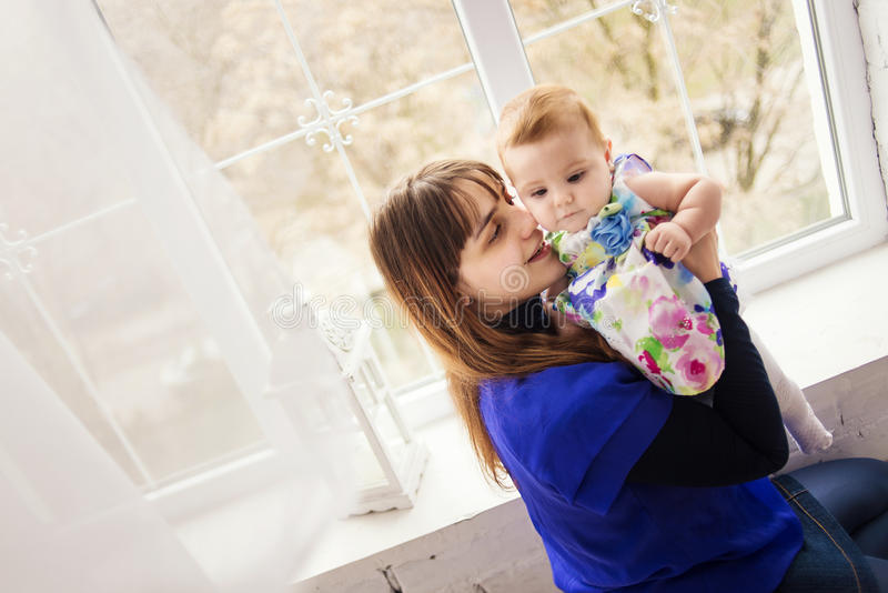 Portrait of mother and daughter stock images
