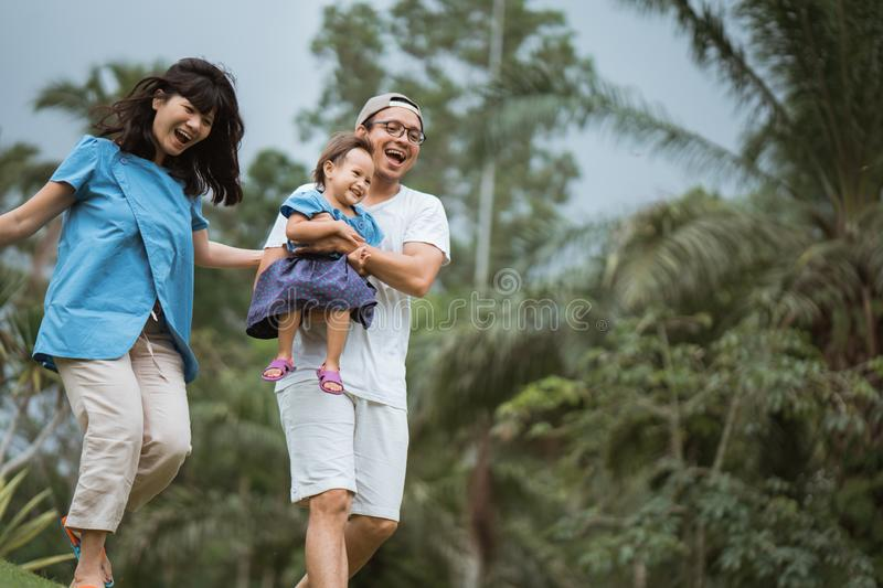 Portrait of mother father and child daughter natural background royalty free stock photo