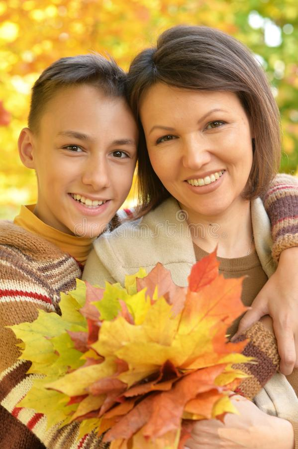 Portrait of a mother with son portrait stock photo