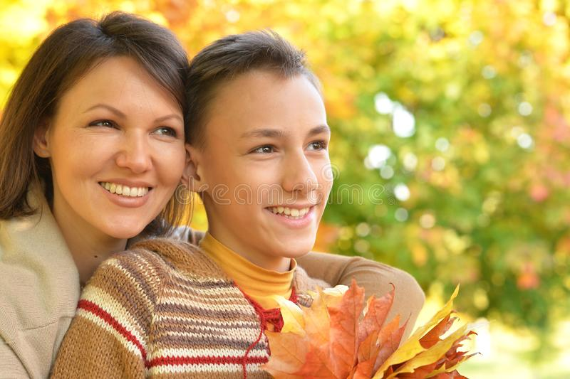 Portrait of a mother with son portrait stock image