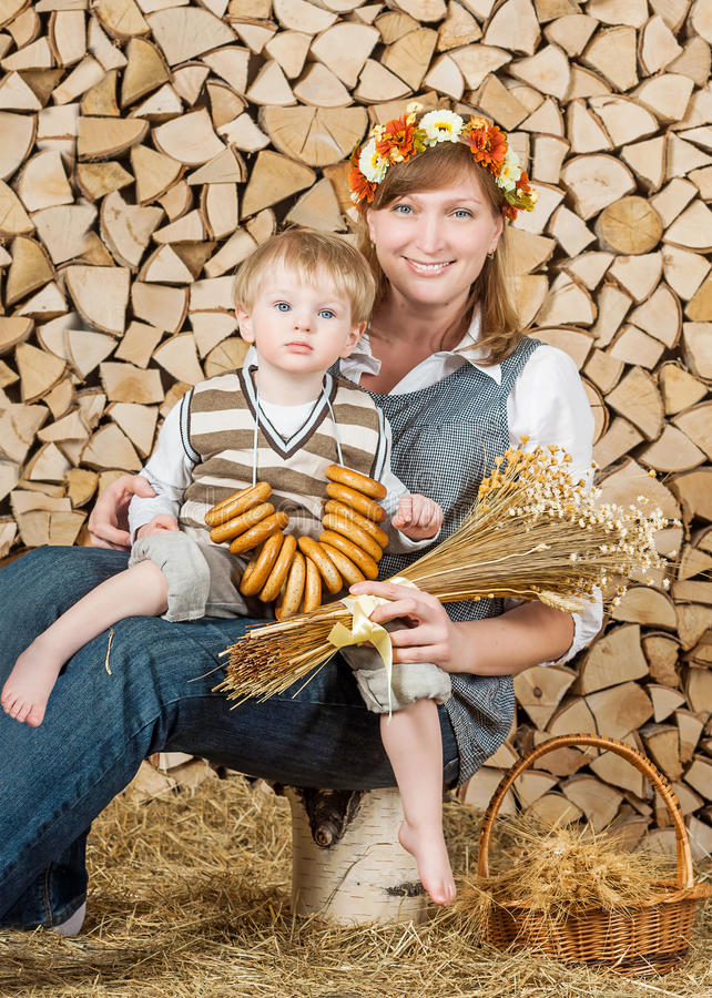 Portrait of mother and son stock photography