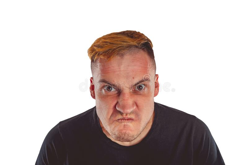 Portrait ?motif d'un type fou en plan rapproch? image stock