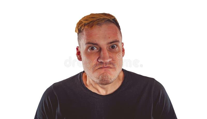 Portrait ?motif d'un type fou en plan rapproch? photo stock