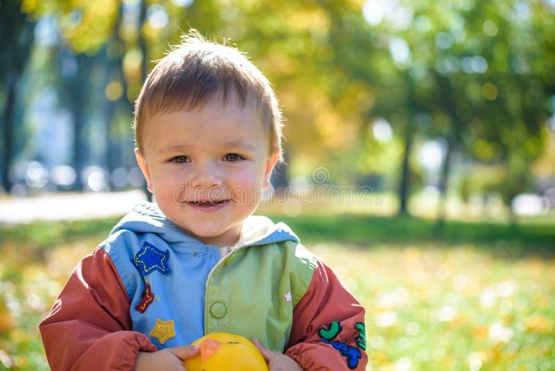 Portrait ?motif de rire heureux et gai de petit gar?on feuilles volantes jaunes d'?rable tout en marchant en parc d'automne heure image libre de droits