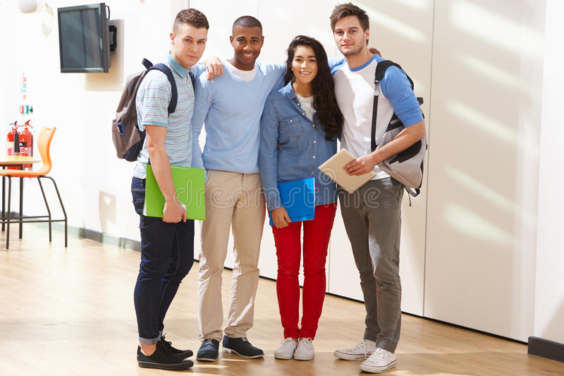Portrait Of Multi-Ethnic Group Of Students In Classroom stock images