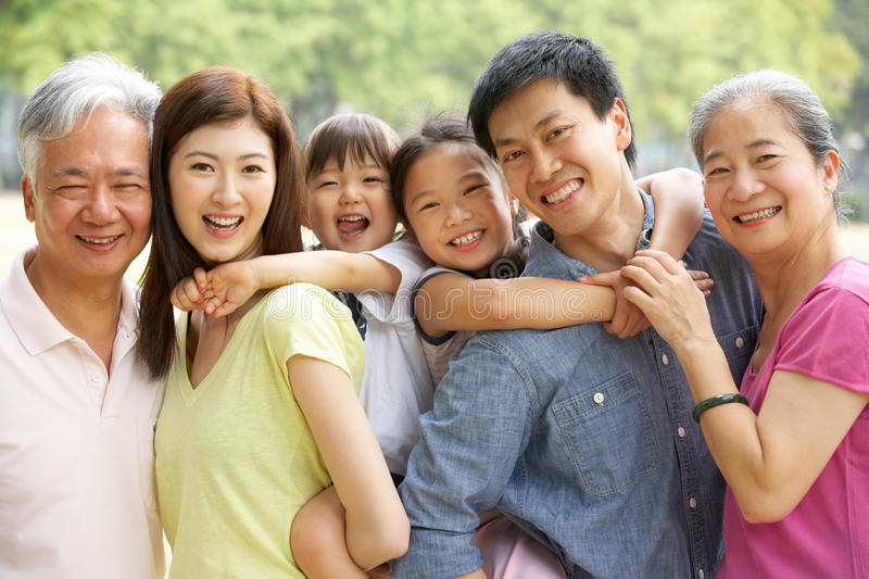 Portrait Of Multi-Generation Chinese Family royalty free stock photo