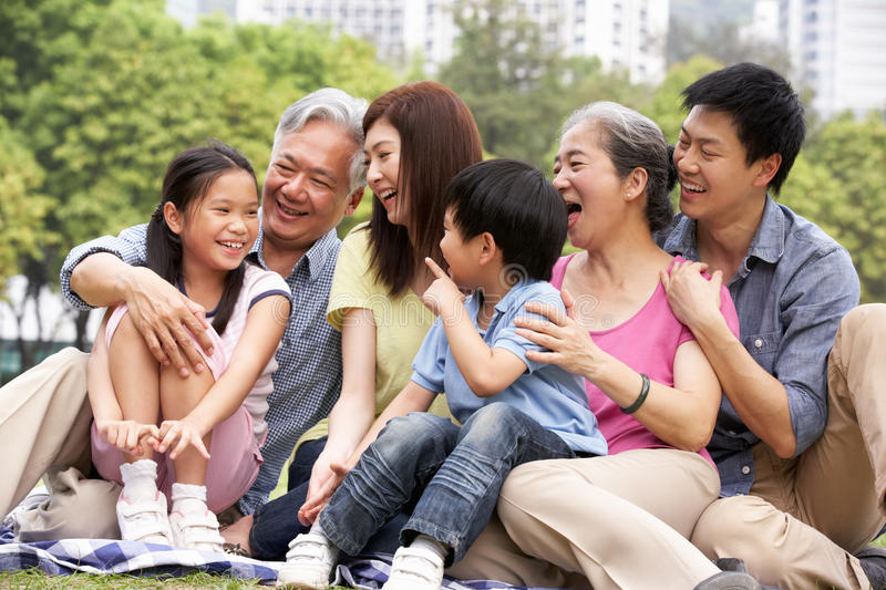 Portrait Of Multi-Generation Chinese Family royalty free stock images