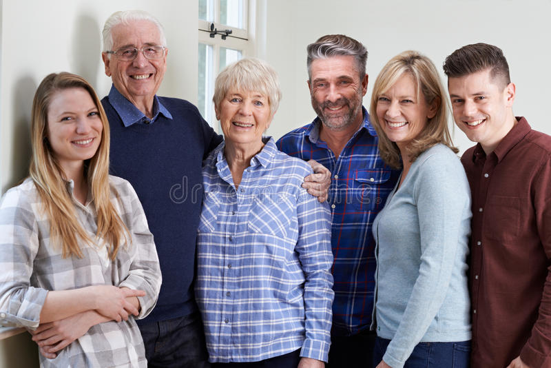 Portrait Of Multi Generation Family At Home royalty free stock photography