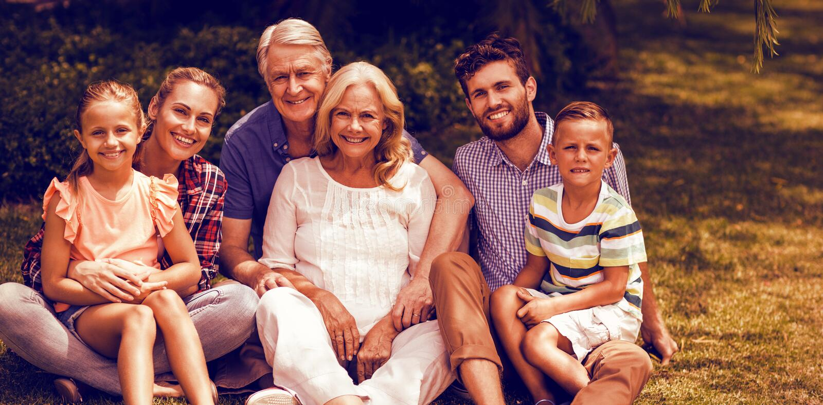 Portrait of multi generation family relaxing on grass royalty free stock photo