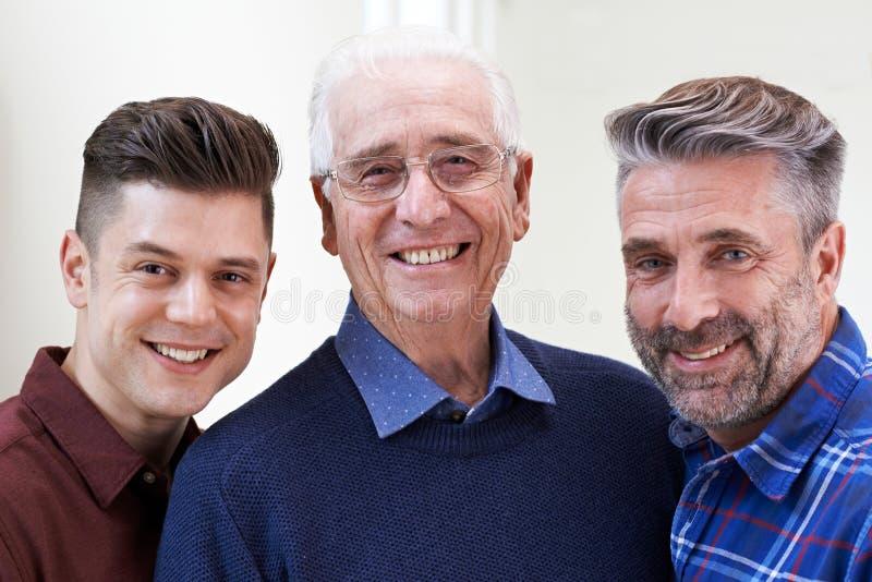 Portrait multi masculin de génération à la maison photo stock